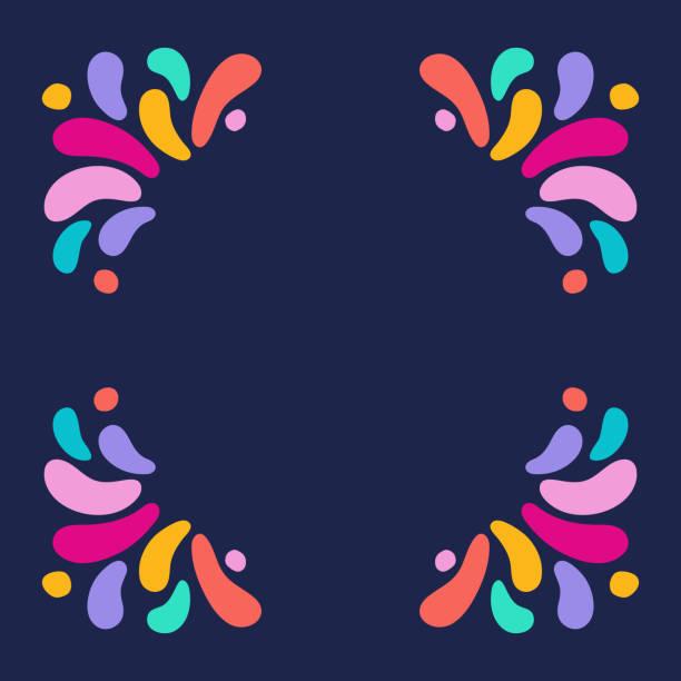 stockillustraties, clipart, cartoons en iconen met vector vakantie vierkante frame met ornament van multicolor druppels. voor het ontwerp van de carnaval, feesten, thema's van liefde, kinderen - hippie