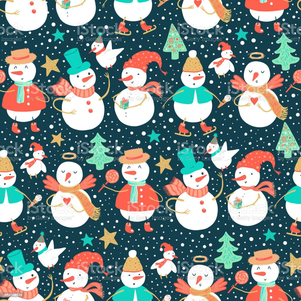Vector holidays pattern of funny snowman and birds with Christmas tree, gifts, harts. Christmas and New Year background for design. royalty-free vector holidays pattern of funny snowman and birds with christmas tree gifts harts christmas and new year background for design stock vector art & more images of angel