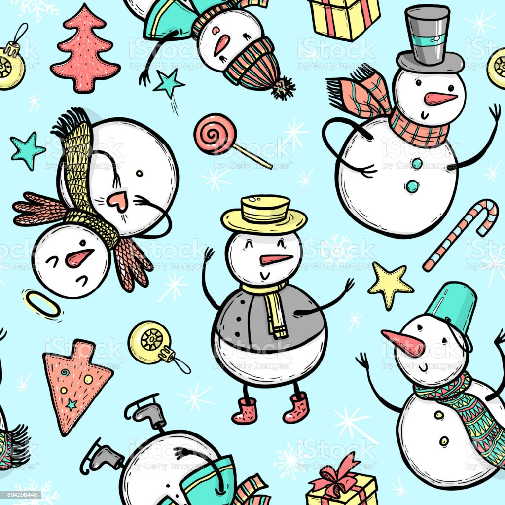 Vector holidays pattern with snowman, Christmas tree, candy, snowflakes, gifts. Christmas and New Year template for design. royalty-free vector holidays pattern with snowman christmas tree candy snowflakes gifts christmas and new year template for design stock vector art & more images of angel