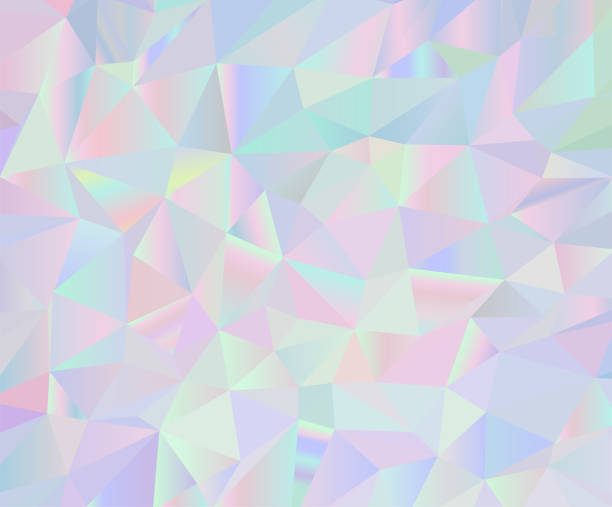 Vector Holographic Background Abstract vector iridescent holographic polygonal background. Pastel colors inspired from the 80s 90s aesthetics. candy patterns stock illustrations
