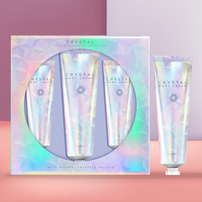 Vector Holographic or Iridescent Beauty Hand Cream Tube Set. Window Packaging Box, Geometric Crystal Theme.