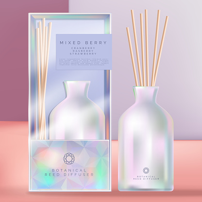 Vector Holographic or Iridescent Ceramic Reed Diffuser with Holographic Packaging Box and Acetate Sleeve. Geometric Crystal Theme.