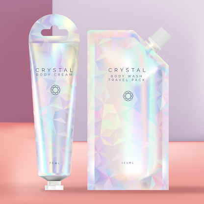 Vector Holographic Pouch, Sachet or packet Shower Wash and Hand Cream Tube with Hanger Packaging, Crystal Theme