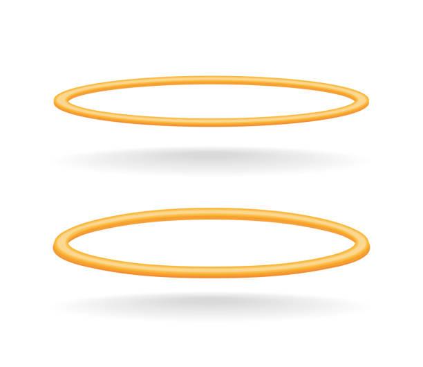 illustrazioni stock, clip art, cartoni animati e icone di tendenza di vettore sacro oro nimbus cerchio isolato - aureola