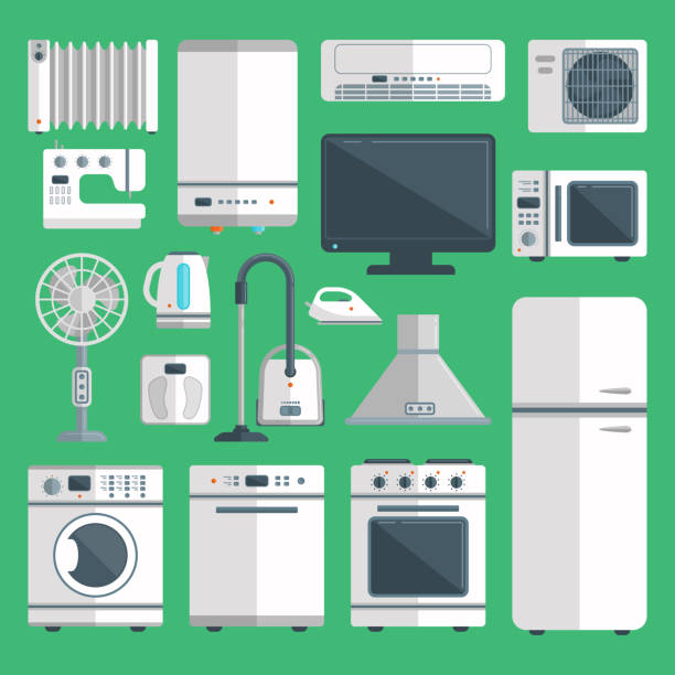 Vector home appliances isolated on background illustration of kitchen equipment refrigerator, home appliance domestic washing machine, microwave, fan electric home appliance cooking freezer tool Vector home appliances isolated on background illustration of kitchen equipment refrigerator, home appliance domestic washing machine, microwave, fan electric home appliance cooking freezer tool. oven stock illustrations
