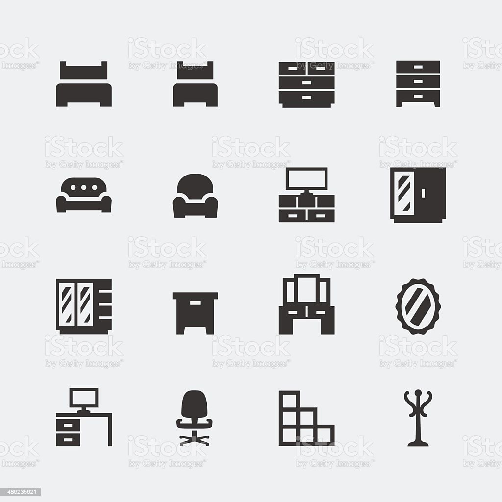 Vector home furniture mini icons set #1 vector art illustration