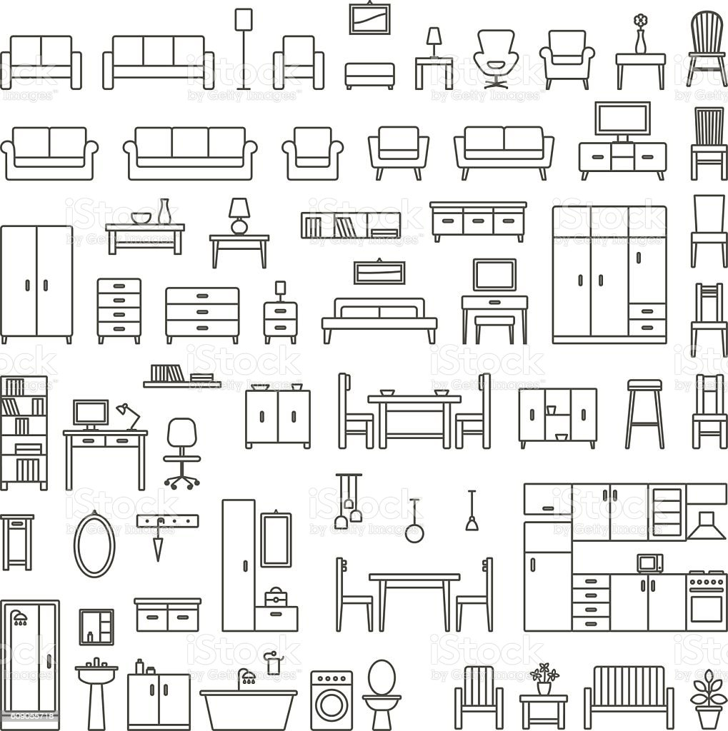 Vector Home Furniture Outline Icons Set 1 Stock Illustration