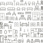 Vector home furniture outline icons set 1