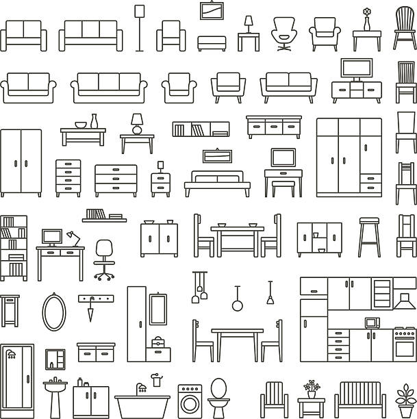 illustrazioni stock, clip art, cartoni animati e icone di tendenza di vector home furniture outline icons set 1 - kitchen situations