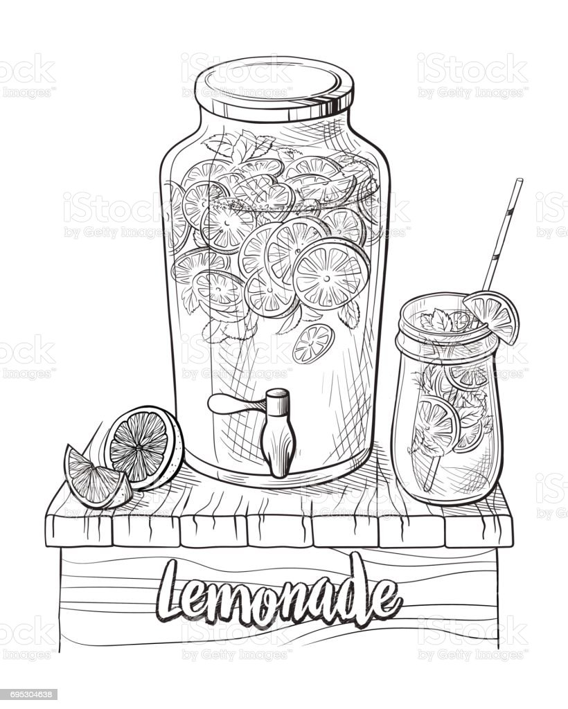 Vector home made lemonade with straw and slice of lemon vector art illustration