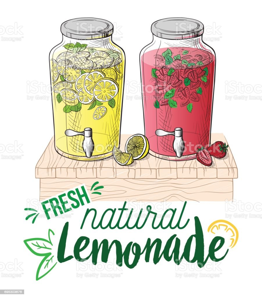 Vector home made lemonade with strawberry and slice of lemon vector art illustration