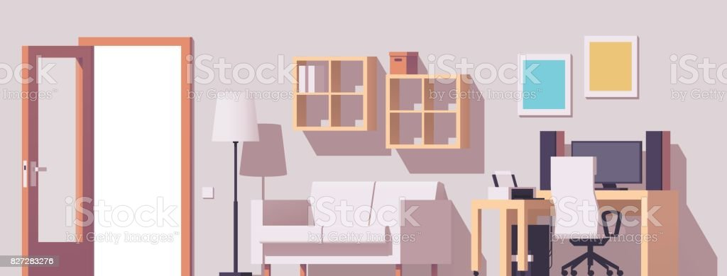 Vector home office interior vector art illustration