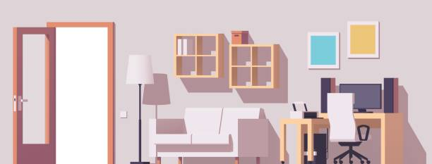 vector home office interior - telecommuting stock illustrations, clip art, cartoons, & icons