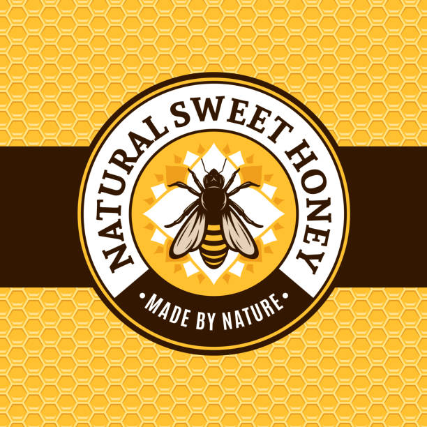 Vector honey label template Vector honey label with bee on a honeycomb background. beekeeper stock illustrations