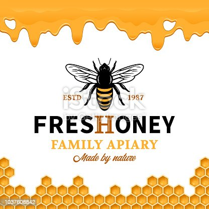 Vector honey label with bee, dripping honey and honeycombs