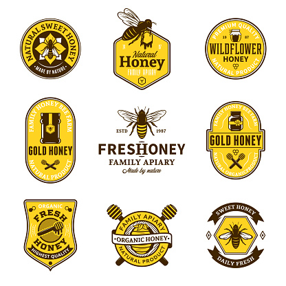 Vector honey labels, icons and design elements