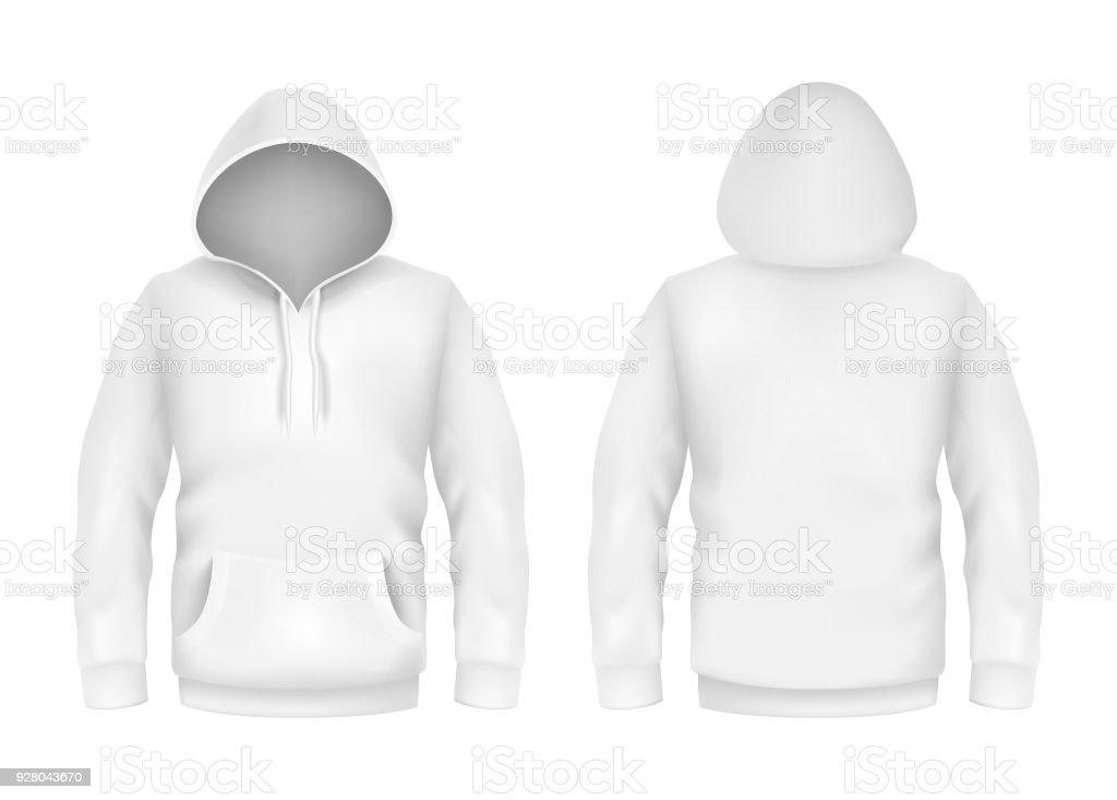 Vektor Hoodie Sweatshirt Weiß 3d Realistische Nachbildung Vorlage ...
