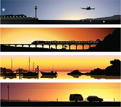 A 2nd series of detailed illustrations of 4 fictional locations. With the theme of travel and transport in mind, the scenes depicted are that of an airport, a railway, a harbour and a country road.