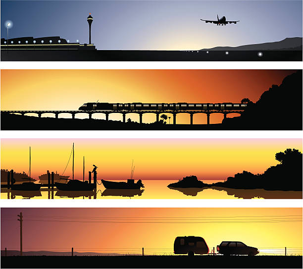 Vector Horizons 2 - Travel A 2nd series of detailed illustrations of 4 fictional locations. With the theme of travel and transport in mind, the scenes depicted are that of an airport, a railway, a harbour and a country road. airport silhouettes stock illustrations