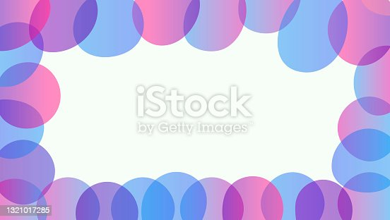 istock Vector horizontal abstract template. Frame made up of free-form transparent gradient circles. Cartoon digital blue and purple bubbles on the border. 1321017285