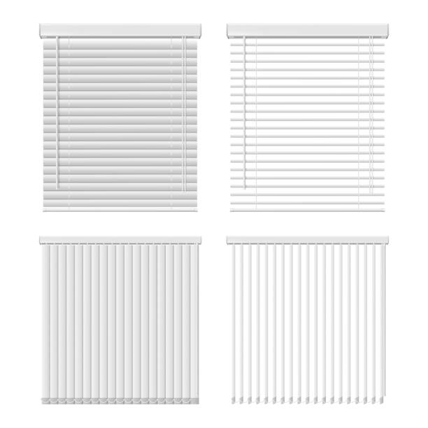 ilustrações de stock, clip art, desenhos animados e ícones de vector horizontal and vertical window blinds icon set - estore