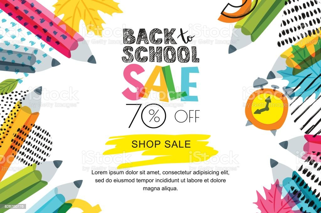 Vector horizontal back to school sale banner, poster background. Hand drawn sketch letters and doodle multicolor pencils. vector art illustration