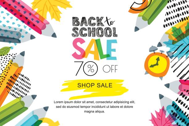 vector horizontal back to school sale banner, poster background. hand drawn sketch letters and doodle multicolor pencils. - back to school stock illustrations, clip art, cartoons, & icons