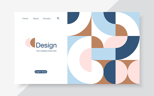 Vector horizontal banner with simple geometric forms in trendy bauhaus style. Landing page design template, stock vector illustration.