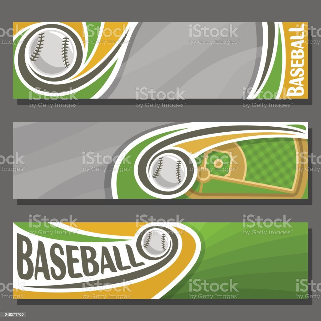 Vector horizontal Banners for Baseball vector art illustration