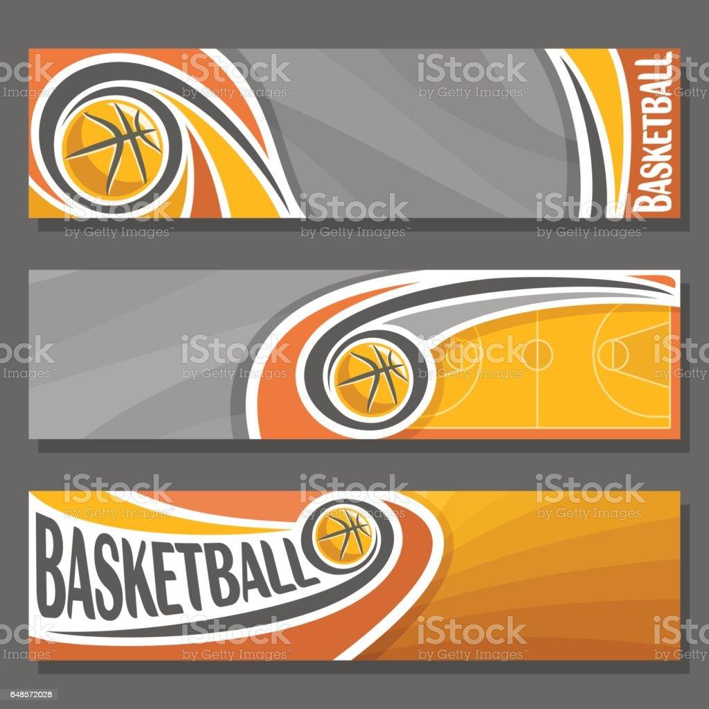 Vector Banners horizontales para el baloncesto - ilustración de arte vectorial