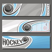 Vector horizontal Banners for Ice Hockey: 3 cartoon covers for title text on hockey theme, sports ice rink with sliding on trajectory puck, abstract headers banner for inscription on gray background.