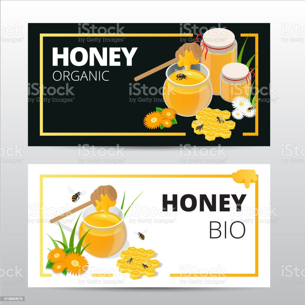 Vector horizontal banners set with sweet honey, honeycomb and jar full of natural flower honey isolated on white background vector art illustration