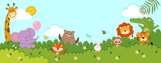 Vector horizontal banners with happy wild animals standing behind the bushes in paper cut style. Place for text.
