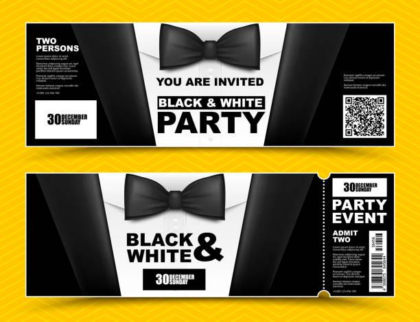 ilustrações, clipart, desenhos animados e ícones de convites de evento preto e branco horizontal do vetor. banners de empresários de gravata preta. cartão de ingresso de festa elegante com terno preto e camisa branca. - eventos de gala