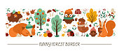 Vector horizontal border set with cute animals and autumn forest elements. Thanksgiving card template design with woodland characters, birds, insects. Funny fall border with hedgehog, fox, squirrel.