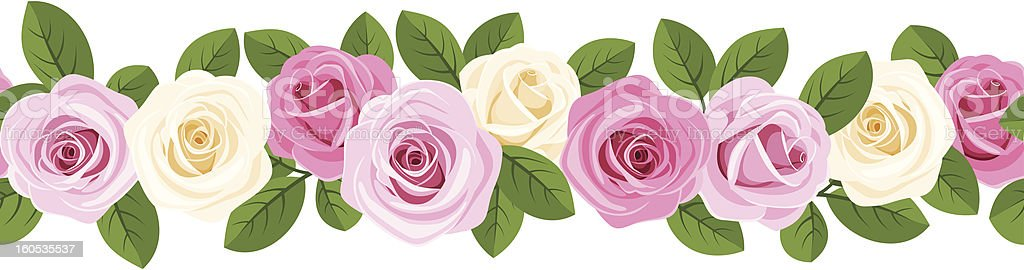 Vector horizontal seamless background with pink and white roses. royalty-free stock vector art