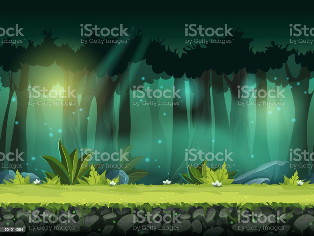 Vector horizontal seamless illustration of forest in a magical mist - ilustración de arte vectorial