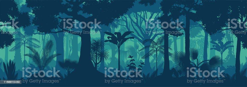 Вектор горизонтальной бесшовной тропический тропический лес Джунгли фон - Векторная графика Азия роялти-фри