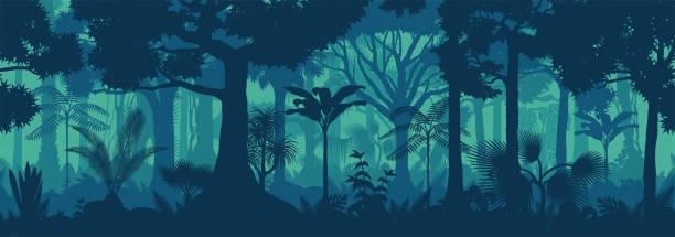 bildbanksillustrationer, clip art samt tecknat material och ikoner med vektor horisontell sömlös tropisk regnskog djungel bakgrund - forest