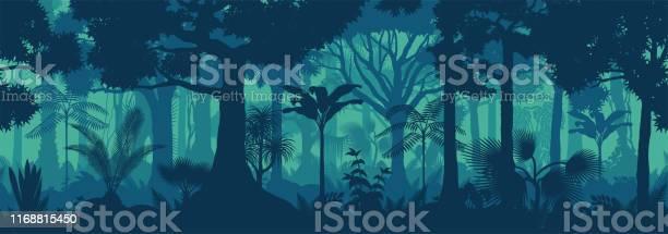 Вектор Горизонтальной Бесшовной Тропический Тропический Лес Джунгли Фон — стоковая векторная графика и другие изображения на тему Азия