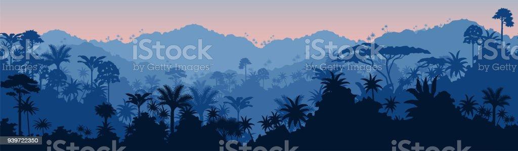 Vector horizontal sem costura fundo de floresta tropical na selva - ilustração de arte em vetor