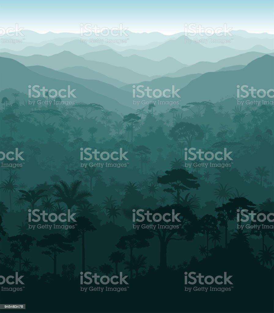 Vector horizontal seamless tropical rainforest Jungle background vector art illustration