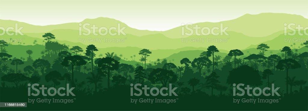 Vector horizontal seamless tropical rainforest Jungle forest background - Векторная графика Азия роялти-фри