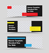 Vector horizontal web banners design with place for photo and colored rectangles for text. Standard size templates for advertising.