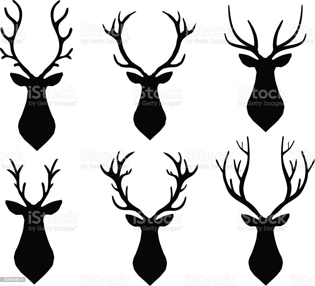 Vector horned deer silhouette set. Different horn shapes vector art illustration