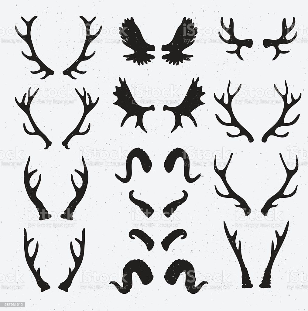 Vector Horns set silhouette on the grunge hipster background. vector art illustration