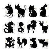 Chinese zodiac. Set of zodiac signs. Hand drawn illustration, cartoon style. Vector Horoscope animals.