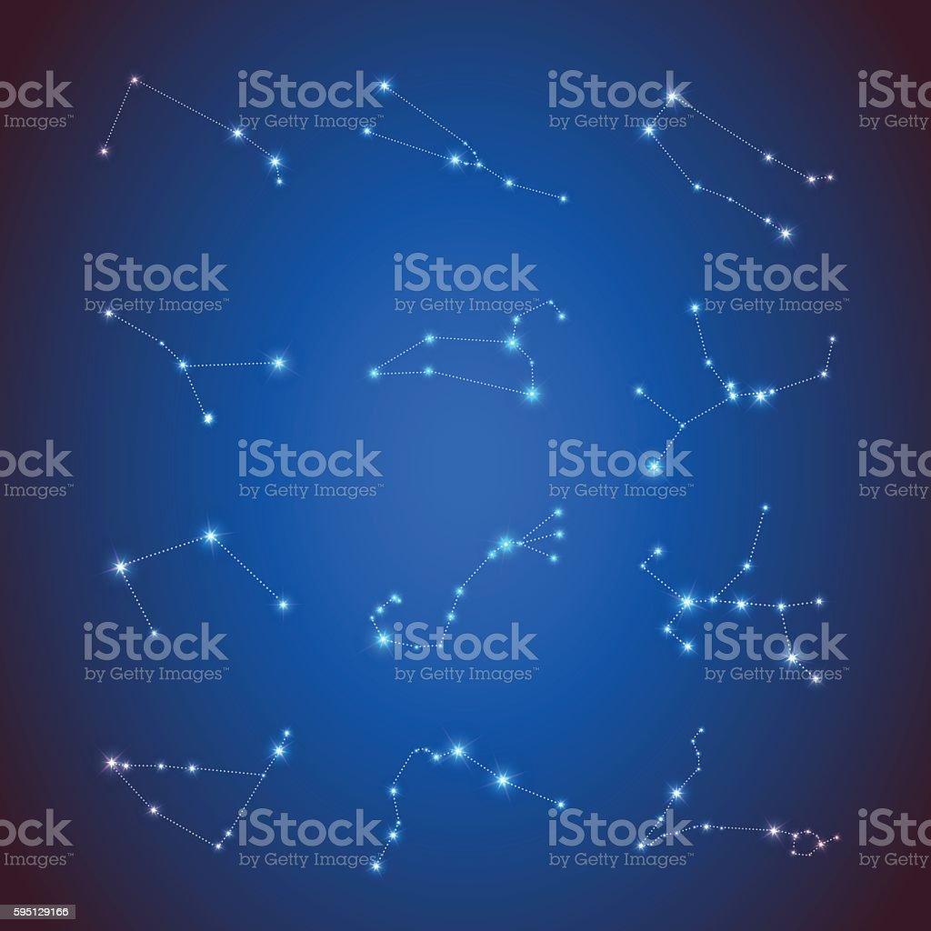 Horoscope Calendar.Vector Horoscope Set Zodiac Sights With Sparkling Stars Calendar