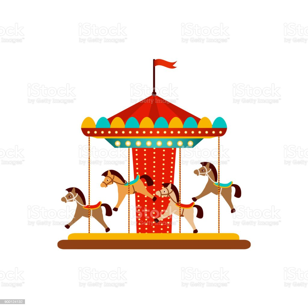 Vector Horse Carousel Amusement Park Objects Stock Illustration Download Image Now Istock
