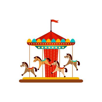 vector horse carousel, amusement park objects